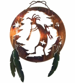 "20"" Kokopelli Shield with Feathers Metal Wall Art by Neil Rose"