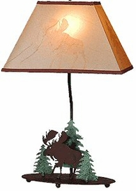 "20"" Moose and Pine Trees Wildlife Table Lamp & Shade by Neil Rose"