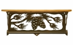 "20"" Pine Cone Branch Metal Towel Bar with Pine Wood Top Wall Shelf"