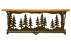 "20"" Pine Tree Forest Metal Towel Bar with Pine Wood Top Wall Shelf"