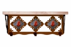 "20"" Red Jasper Stone Metal Wall Shelf and Hooks with Pine Wood Top"