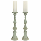 """20"""" Teal Rustic Pillar Candle Holder, Set of 2"""