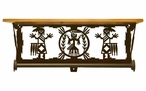"20"" Yei Southwest Scene Metal Towel Bar with Pine Wood Top Wall Shelf"