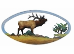 "22"" Oval Elk on the Range Hand Painted Metal Wall Art"