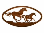 "22"" Oval Running Wild Horses Metal Wall Art"
