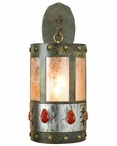"22"" Red Jasper Stone One Light Metal Wall Sconce"