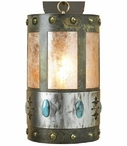"22"" Turquoise Stone and Concho Half Round One Light Metal Wall Sconce"