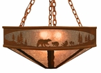"24"" Bear Family in the Forest Metal Chandelier"