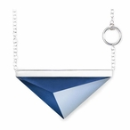 """24"""" Dark Blue Spectra I Crystal and Silver Necklace By Mats Jonasson"""
