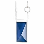 """24"""" Dark Blue Spectra II Crystal and Silver Necklace By Mats Jonasson"""
