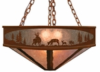 "24"" Deer Family in the Forest Metal Chandelier"