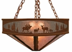 "24"" Elk Family in the Forest Metal Chandelier"