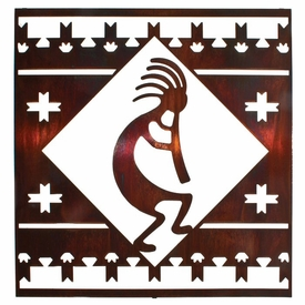 "24"" Kokopelli Lodge Square Metal Wall Art Honey Pinion Finish"