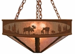 "24"" Moose Family in the Forest Metal Chandelier"
