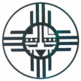 "24"" Native Sun Metal Wall Art by Bindrune Design Teal Patina Finish"