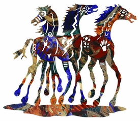"24"" Whimsical Southwest Horses Metal Wall Art by Neil Rose"