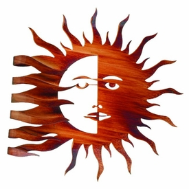 "27"" Wrapped Sun Moon Wrapped Sun Rays Metal Wall Art"