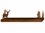 "28"" Deer and Pine Trees Metal Wall Shelf with Ledge"