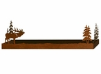 "28"" Elk and Pine Trees Metal Wall Shelf with Ledge"