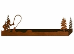 "28"" Fly Fisherman and Pine Trees Metal Wall Shelf with Ledge"