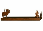 "28"" Moose and Pine Trees Metal Wall Shelf with Ledge"