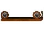 "28"" Round Copper Concho Metal Wall Shelf with Ledge"