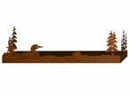 "28"" Swimming Loon and Pine Trees Metal Wall Shelf with Ledge"