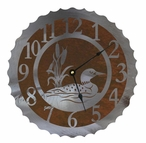 "28"" Swimming Loon Metal Wall Clock"