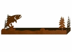 "28"" Trout Fish and Pine Trees Metal Wall Shelf with Ledge"