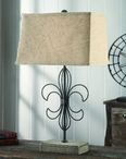 "28"" Wire Fleur De Lis Table Lamp"