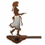 """29"""" Burnished Cowgirl with Pistol Metal Towel Bar"""