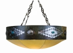 "30"" Desert Diamond w/ Turquoise Stone & Rawhide Dome Metal Chandelier"