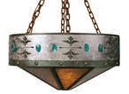 "30"" Turquoise Stone Metal Chandelier"