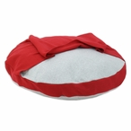 "33"" Fleece Light Grey Round Pet Bed with Red Hoodie"