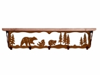 "34"" Bear Family Metal Wall Shelf and Hooks with Alder Wood Top"