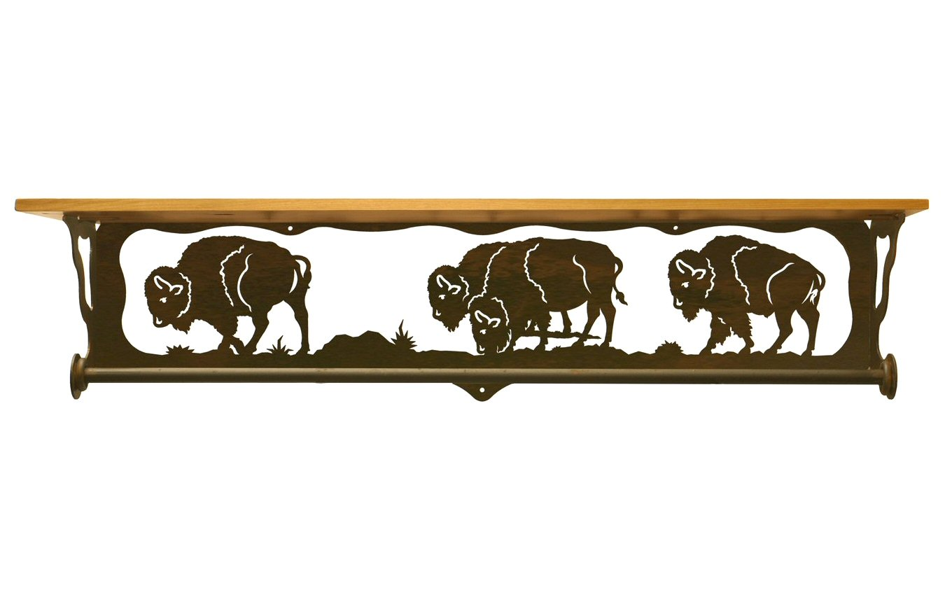 Very Impressive portraiture of  Scene Metal Towel Bar with Alder Wood Top Wall Shelf Towel Holder with #B37618 color and 1350x850 pixels