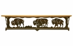 "34"" Buffalo Family Scene Metal Towel Bar with Pine Wood Top Wall Shelf"