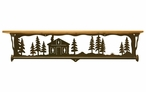 "34"" Cabin in the Pines Metal Towel Bar with Pine Wood Top Wall Shelf"