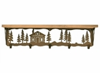 "34"" Cabin in the Pines Metal Wall Shelf and Hooks with Alder Wood Top"