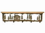 "34"" Cabin in the Pines Metal Wall Shelf and Hooks with Pine Wood Top"