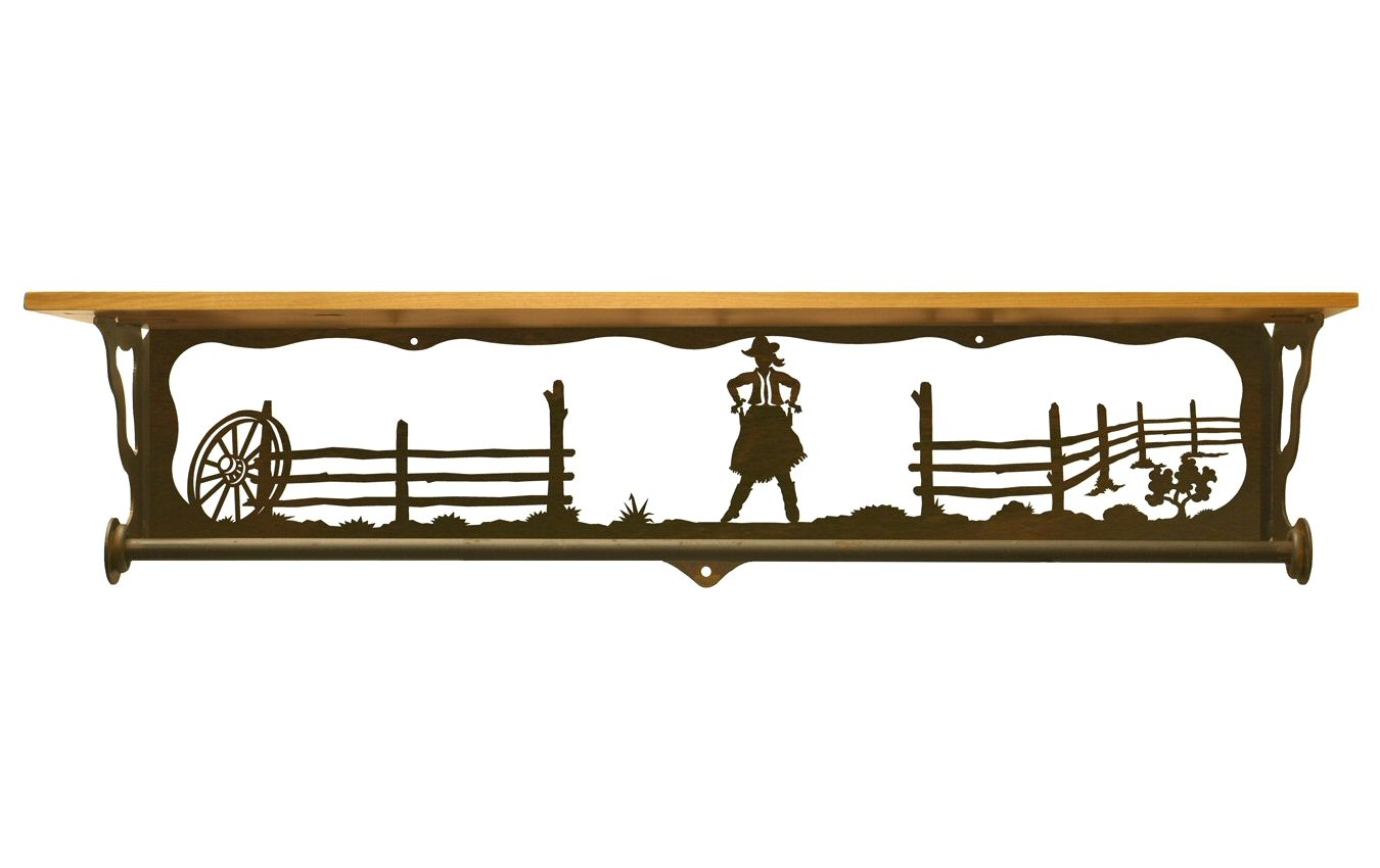 Very Impressive portraiture of  Scene Metal Towel Bar with Pine Wood Top Wall Shelf Towel Holder with #B37618 color and 1350x850 pixels