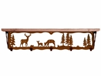 "34"" Deer Family Metal Wall Shelf and Hooks with Pine Wood Top"