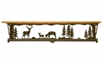 "34"" Deer Family Scene Metal Towel Bar with Alder Wood Top Wall Shelf"
