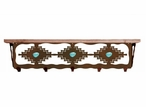 "34"" Desert Diamond with Turquoise Metal Wall Shelf & Alder Wood Top"