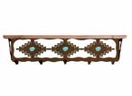 "34"" Desert Diamond with Turquoise Metal Wall Shelf & Pine Wood Top"
