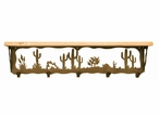 "34"" Desert Scene Metal Wall Shelf and Hooks with Alder Wood Top"