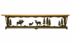 "34"" Elk Family Scene Metal Towel Bar with Alder Wood Top Wall Shelf"