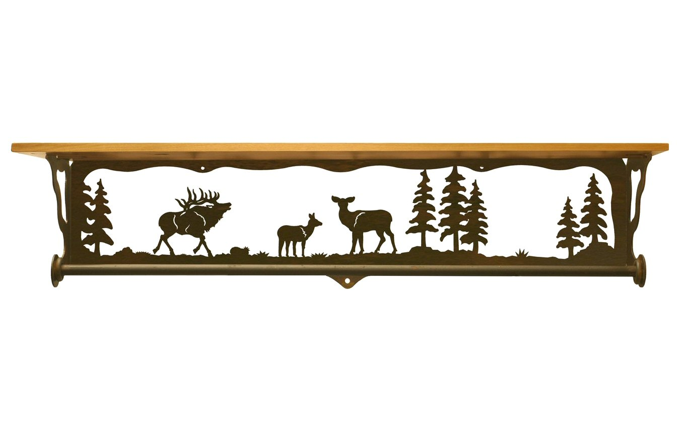 Very Impressive portraiture of  Scene Metal Towel Bar with Pine Wood Top Wall Shelf Towel Holder with #B37518 color and 1350x850 pixels