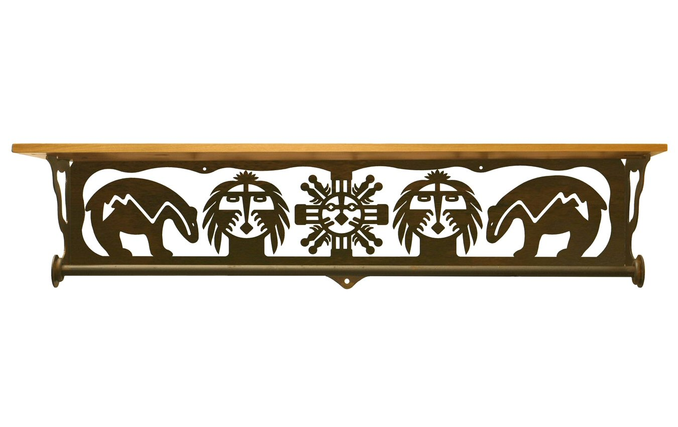 Marvelous photograph of  Fetish Bear Metal Towel Bar with Pine Wood Top Wall Shelf Towel with #B37618 color and 1350x850 pixels