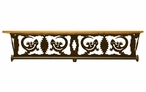 "34"" Gecko Lizard Scene Metal Towel Bar with Alder Wood Top Wall Shelf"